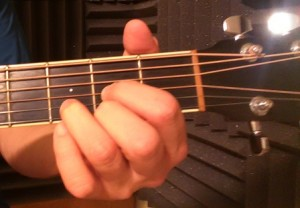 D Major Guitar Chord Front view